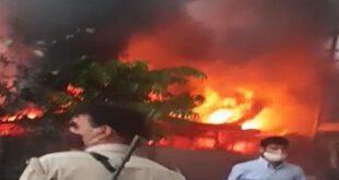 Fire In Junk Warehouse In Kanpur Up – कानपुर: बंदरों की लड़ाई में जल गया कबाड़ का गोदाम, प्लास्टिक के धुएं से सांस लेना हुआ दूभर