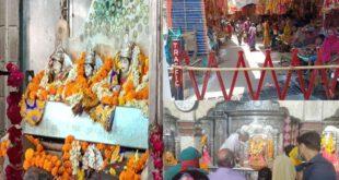 Navratri 2021: मंदिरों में सोशल डिस्टेंसिंग धड़ाम, मास्क लगाकर भक्तों ने की पूजा-अर्चना