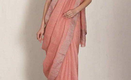 Linen 100 count peach with silver zari border pure organic handwoven saree